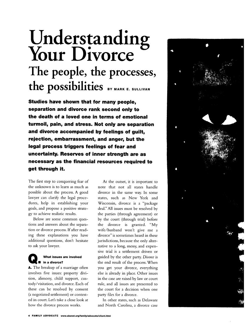 Understanding Your Divorce 27 Family Advocate 2004-2005