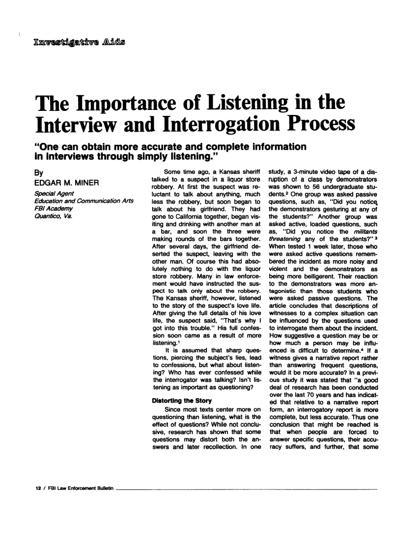 The Importance of Listening in the Interview and