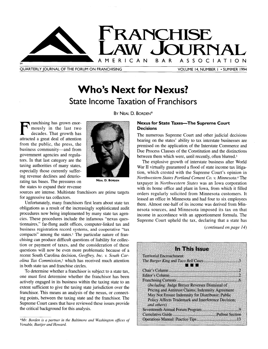 handle is hein.journals/fchlj14 and id is 1 raw text is: FRNUCHISE