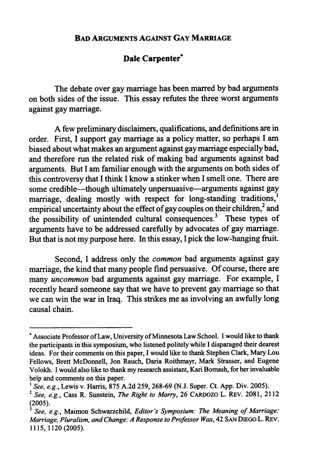 For gay marriage essay