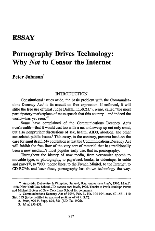 pornography drives technology why not to censor the internet  what is