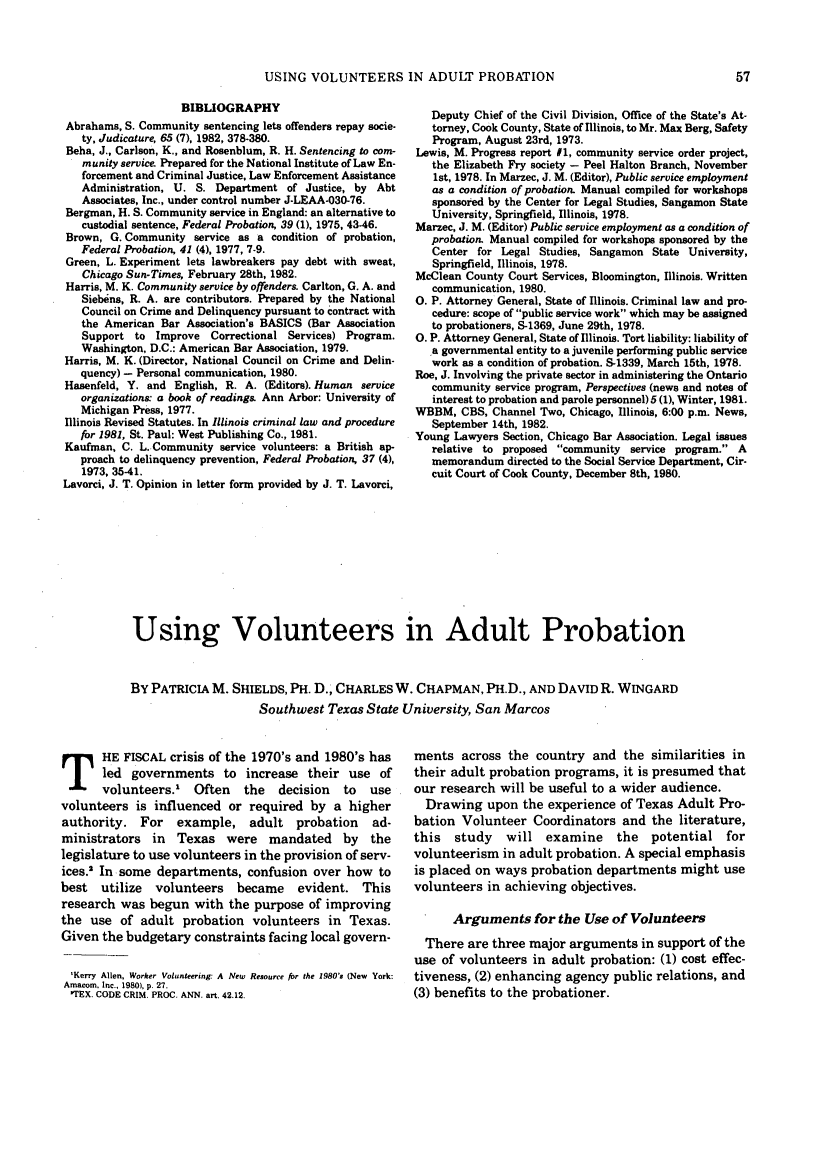 Using Volunteers in Adult Probation 47 Federal Probation 1983