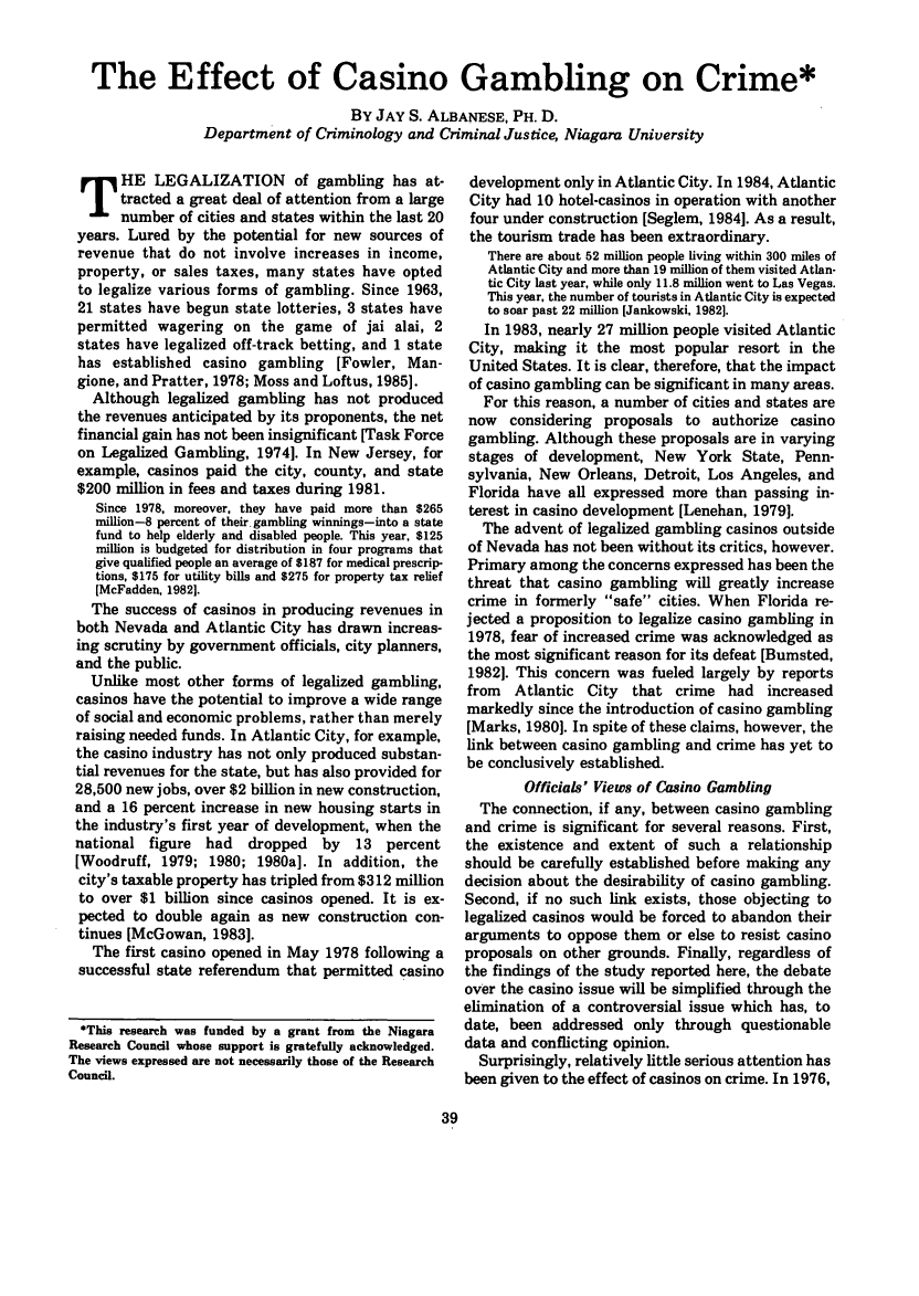 handle is hein.journals/fedpro49 and id is 133 raw text is: The Effect of Casino Gambling on Crime*