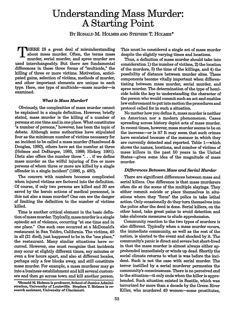 handle is hein.journals/fedpro56 and id is 55 raw text is: Understanding Mass Murder: