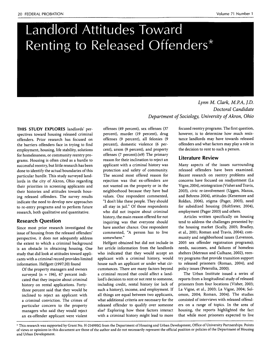 Landlord Attitudes toward Renting to Released Offenders 71