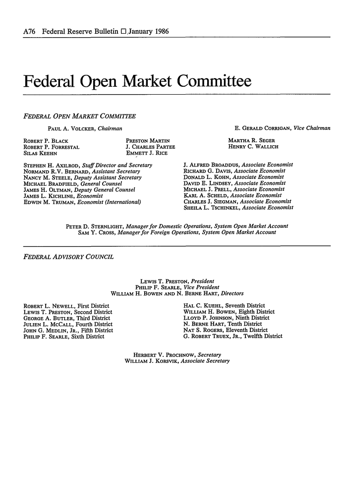 handle is hein.journals/fedred72 and id is 168 raw text is: A76 Federal Reserve Bulletin El January 1986
