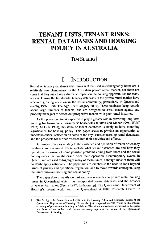 Tenant Lists, Tenant Risks: Rental Databases and Housing