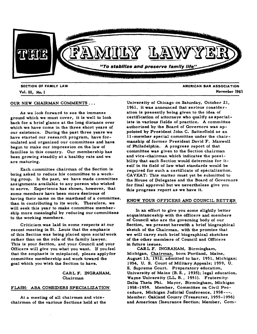 handle is hein.journals/flwnwsltr3 and id is 1 raw text is: SECTION OF FAMILY LAW                                               AMERICAN BAR ASSOCIATION