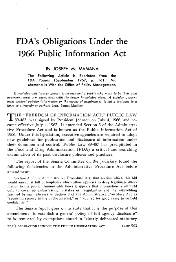 handle is hein.journals/foodlj22 and id is 589 raw text is: FDA's Obligations Under the