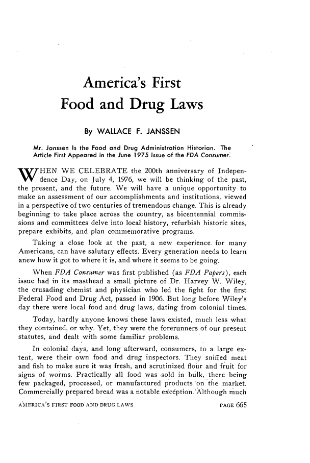 handle is hein.journals/foodlj30 and id is 693 raw text is: America's First