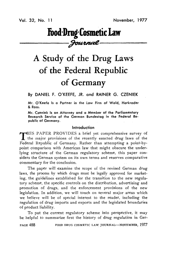 A Study of the Drug Laws of the Federal Republic of Germany