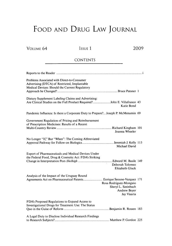 Food and Drug Law Journal V  64