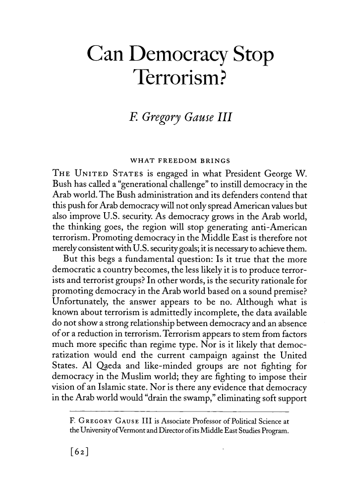 can democracy stop terrorism essay foreign affairs  what is