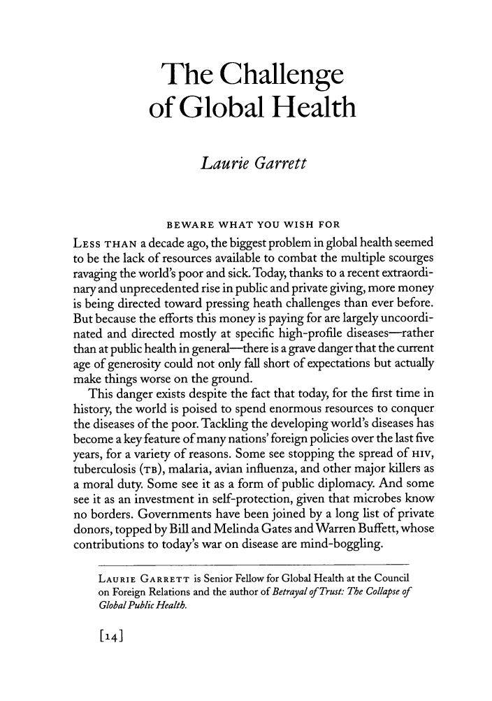 the challenge of global health essay  foreign affairs  handle is heinjournalsfora and id is  raw text is the