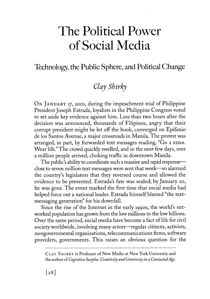 the political power of social media technology the public what is heinonline