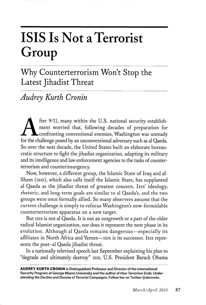 isis terrorism essay