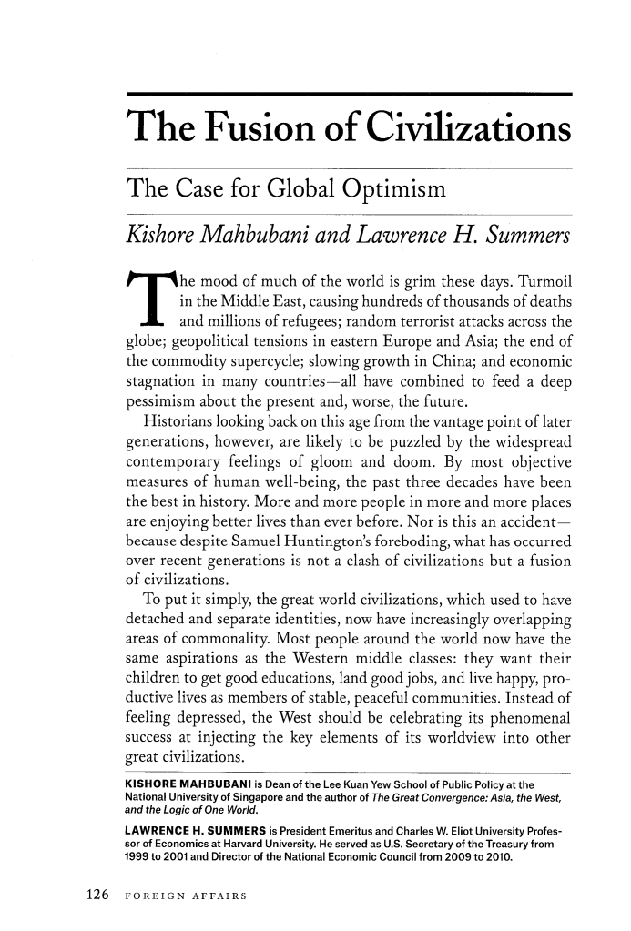 the fusion of civilizations the case for global optimism essays  what is