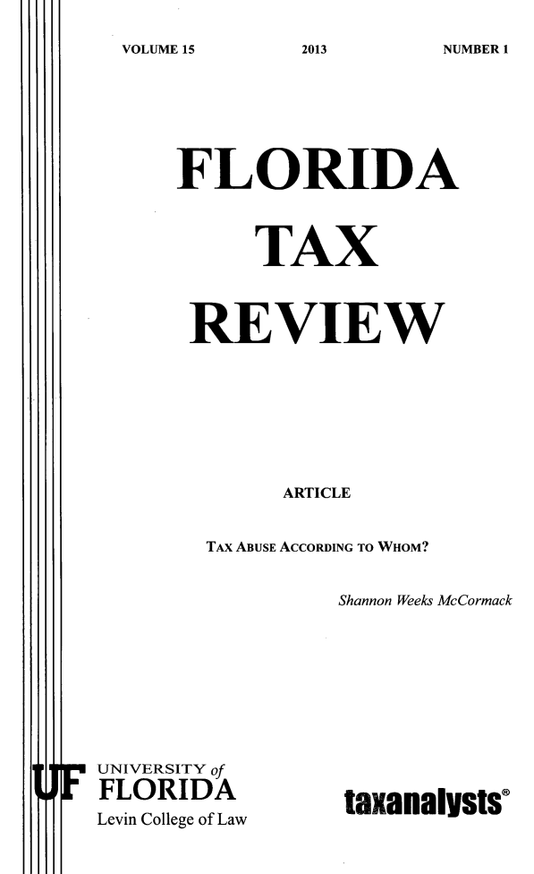 handle is hein.journals/ftaxr15 and id is 1 raw text is: VOLUME 15213NME1