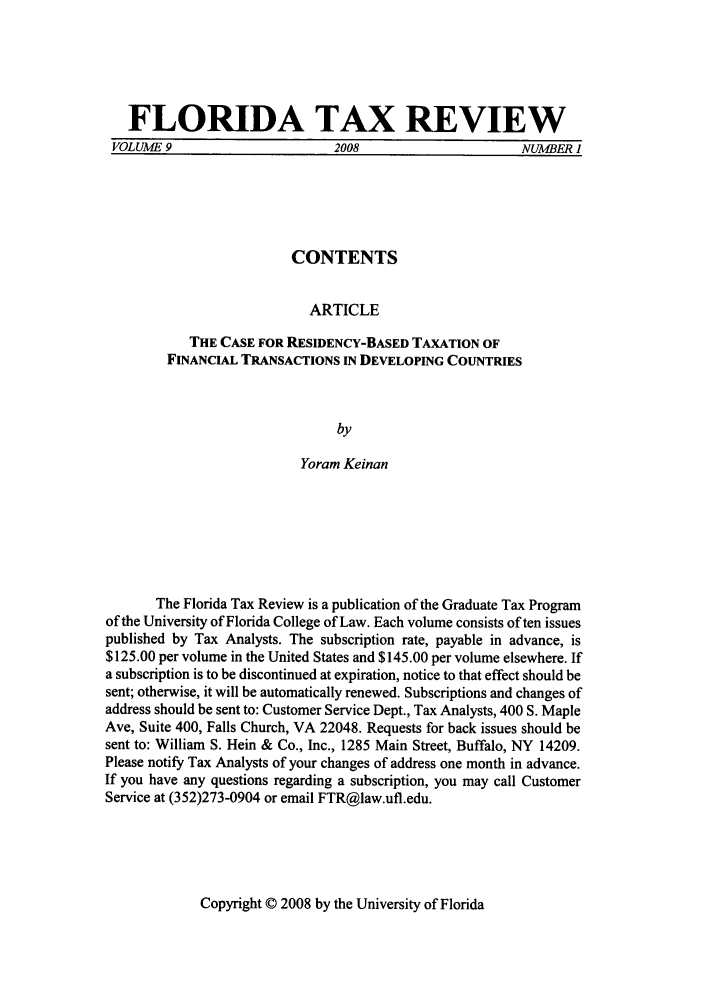 handle is hein.journals/ftaxr9 and id is 1 raw text is: FLORIDA TAX REVIEW