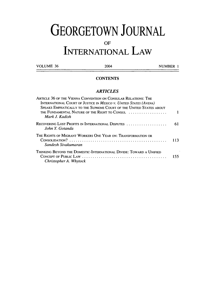 handle is hein.journals/geojintl36 and id is 1 raw text is: GEORGETOWN JOURNAL