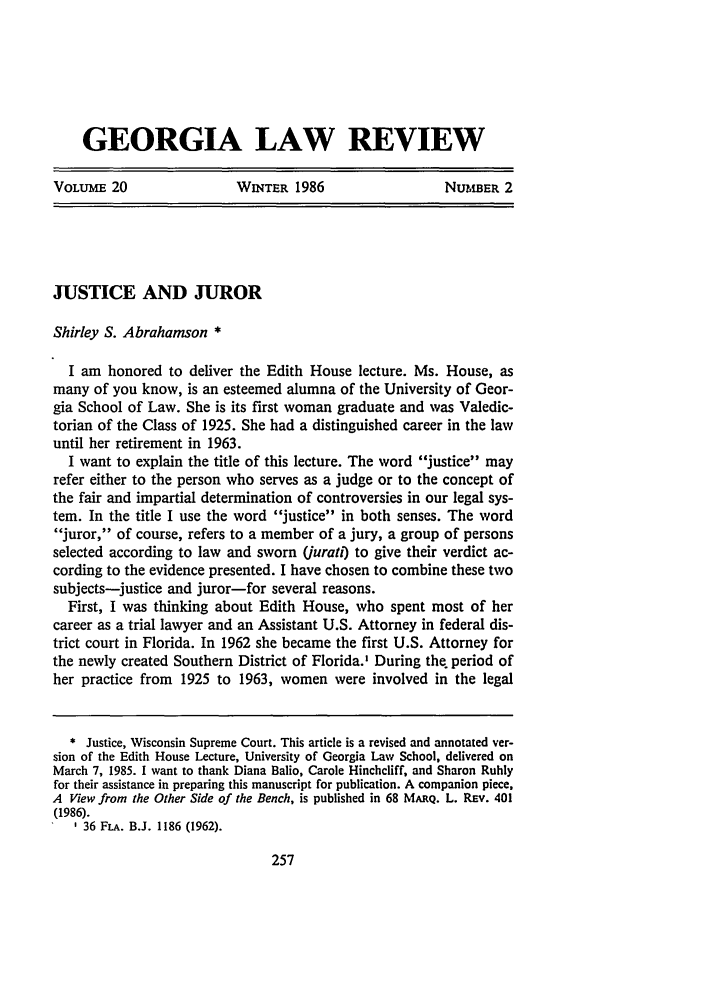 handle is hein.journals/geolr20 and id is 279 raw text is: GEORGIA LAW REVIEW