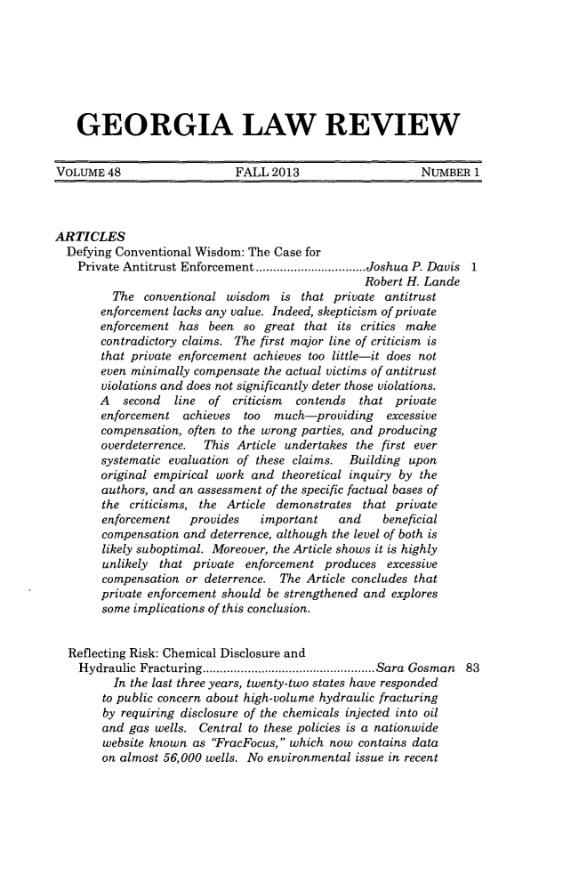 handle is hein.journals/geolr48 and id is 1 raw text is: GEORGIA LAW REVIEW