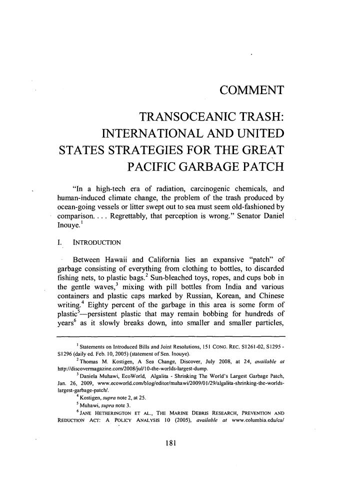 Transoceanic Trash International And United States