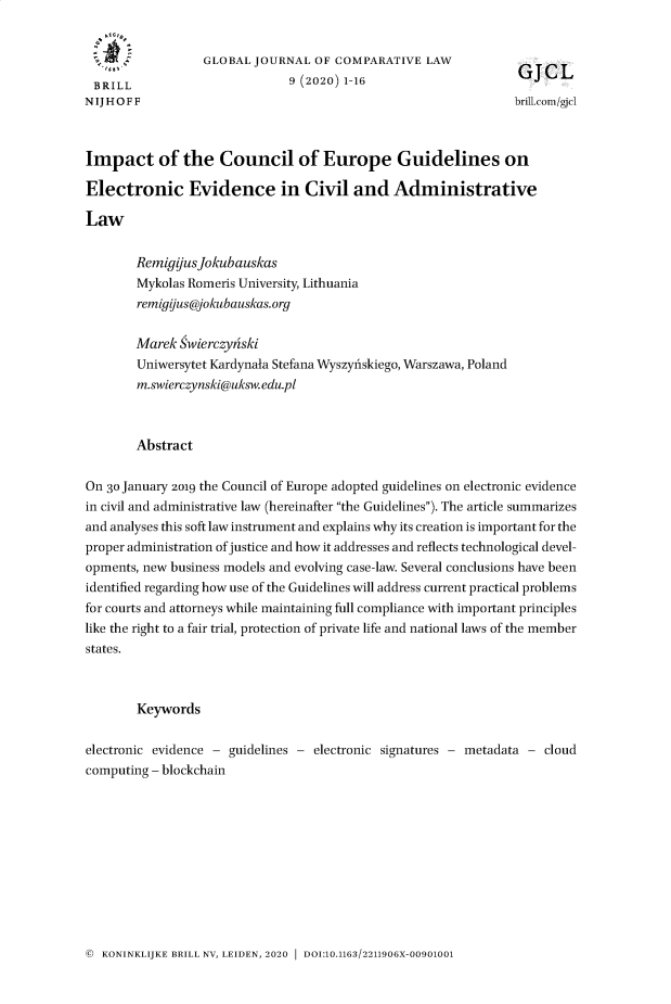 handle is hein.journals/glojoucl9 and id is 1 raw text is: 