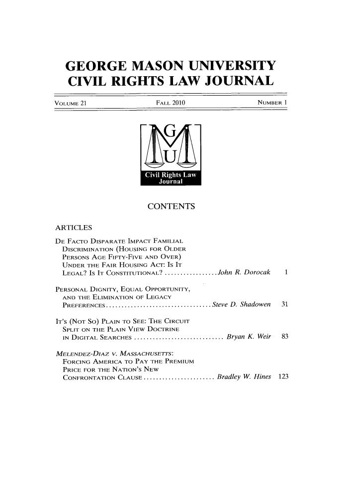 handle is hein.journals/gmcvr21 and id is 1 raw text is: GEORGE MASON UNIVERSITY