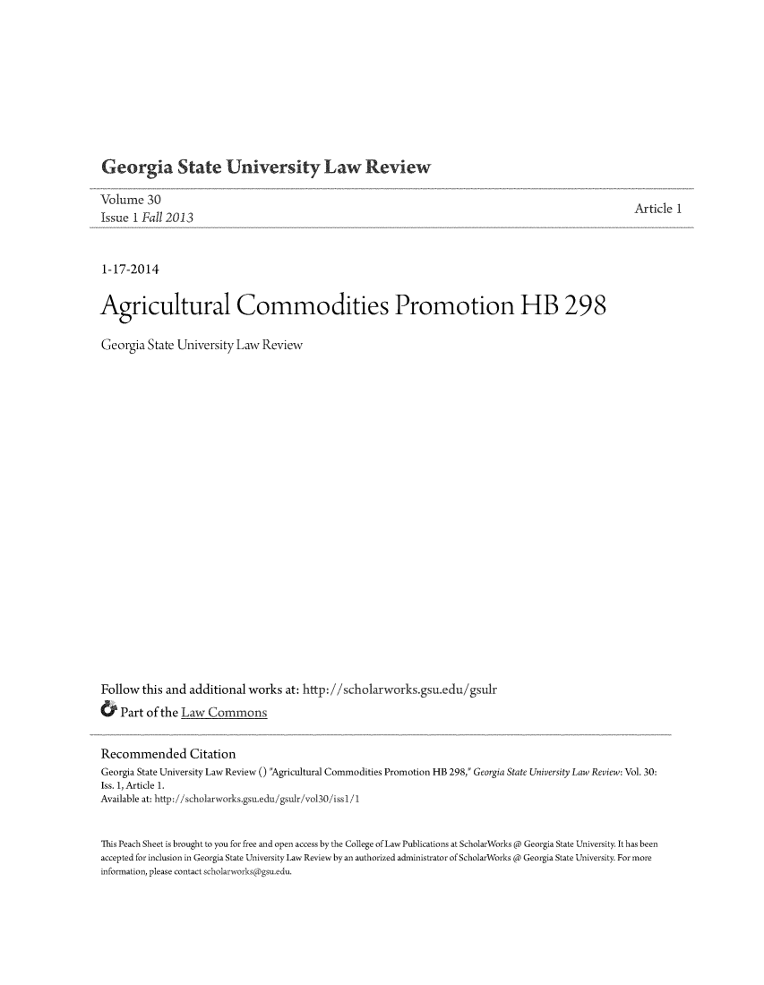 handle is hein.journals/gslr30 and id is 1 raw text is: Georgia State University Law Review