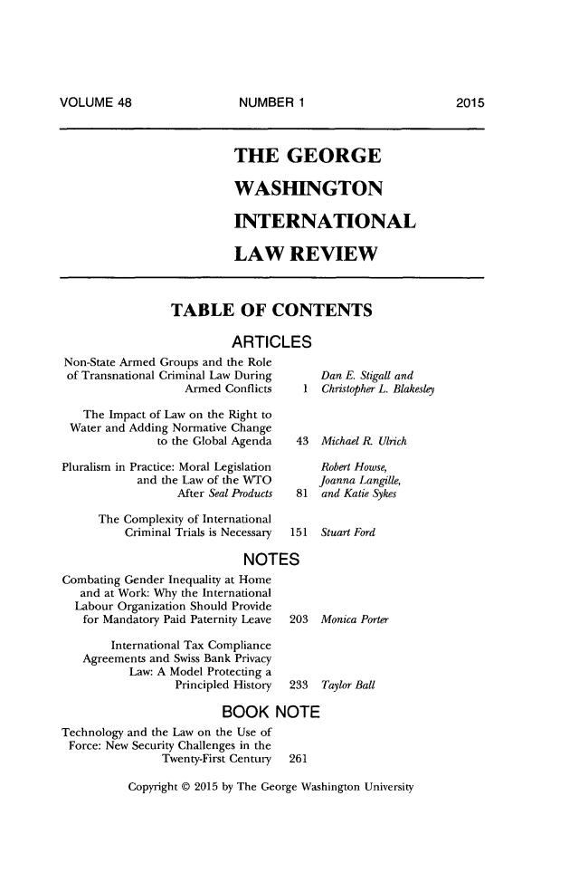 George Washington International Law Review V 48