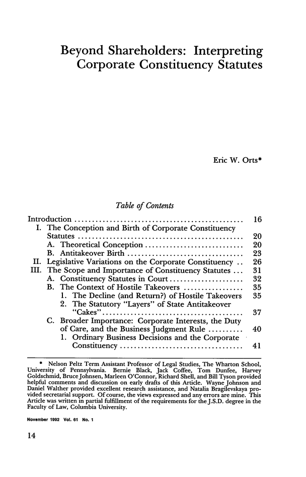 handle is hein.journals/gwlr61 and id is 22 raw text is: Beyond Shareholders: Interpreting