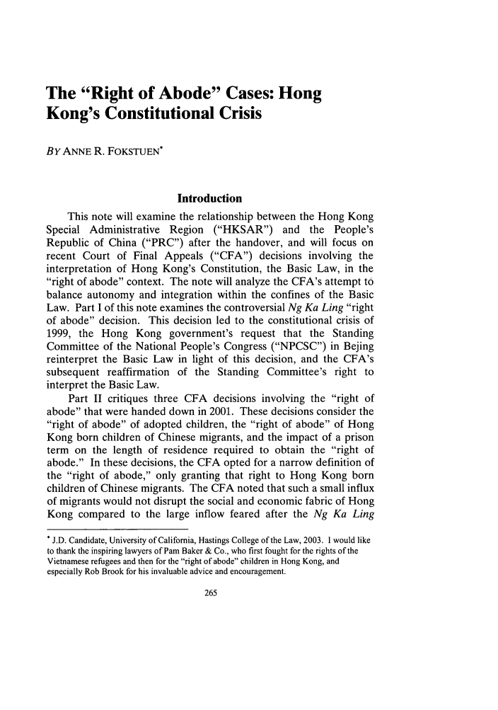 handle is hein.journals/hasint26 and id is 279 raw text is: The Right of Abode Cases: Hong
