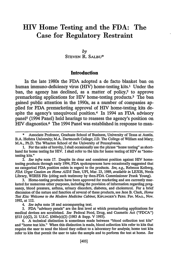 handle is hein.journals/hastlj46 and id is 445 raw text is: HIV Home Testing and the FDA: The