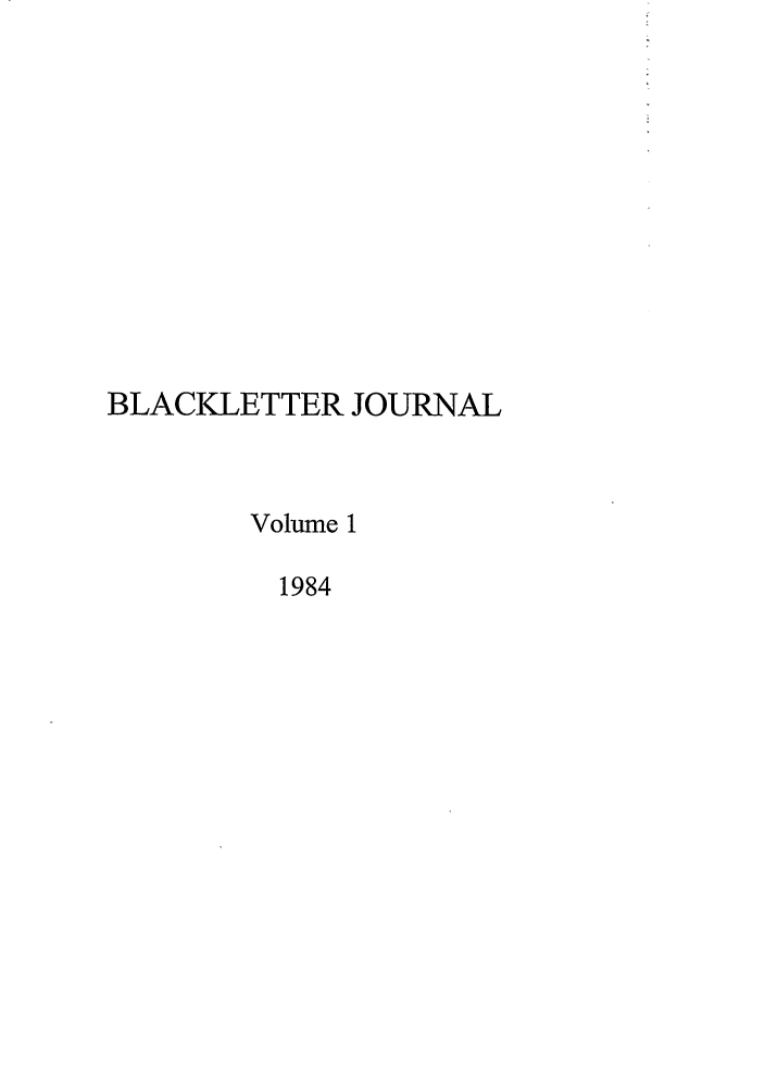 handle is hein.journals/hblj1 and id is 1 raw text is: BLACKLETTER JOURNAL