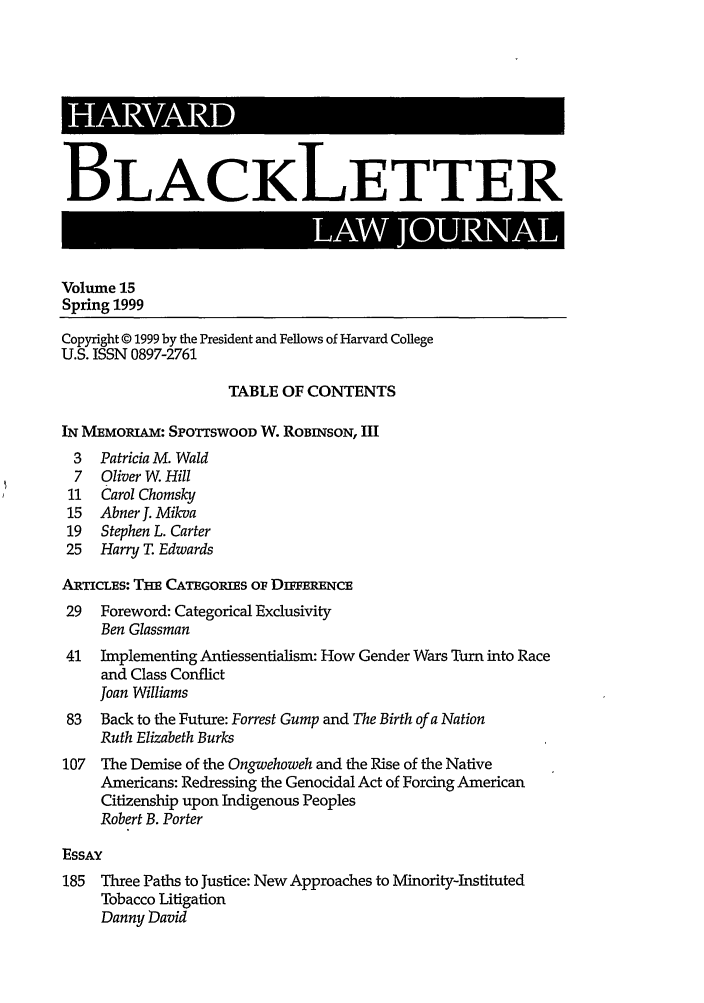 Table of Contents 15 Harvard Blackletter Law Journal 1999