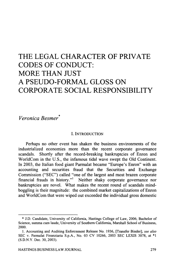 The Legal Character Of Private Codes Of Conduct More Than Just A