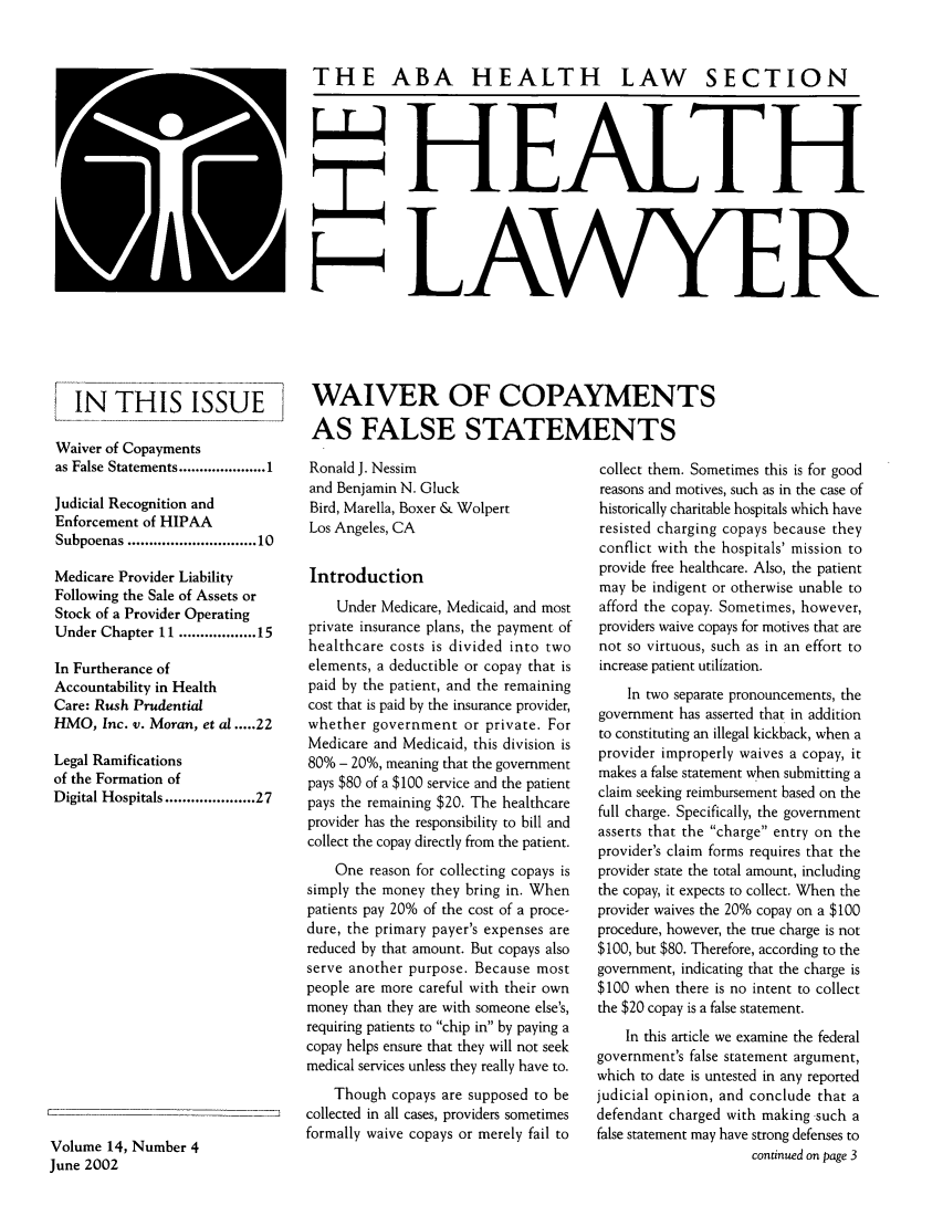 handle is hein.journals/healaw14 and id is 111 raw text is: THE ABA HEALTH LAW SECTION