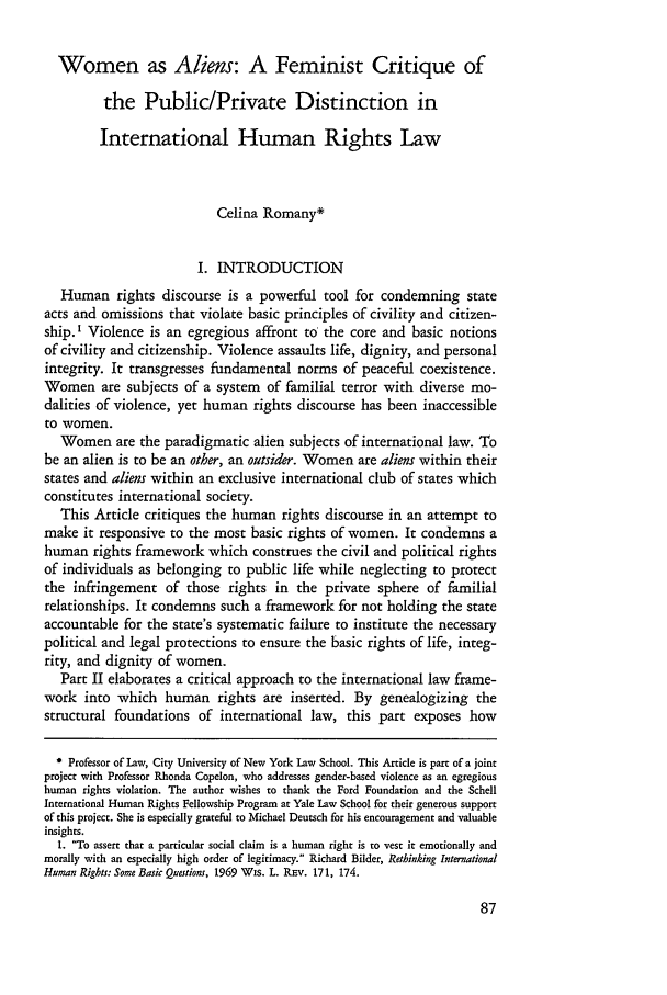handle is hein.journals/hhrj6 and id is 93 raw text is: Women as Aliens: A Feminist Critique of