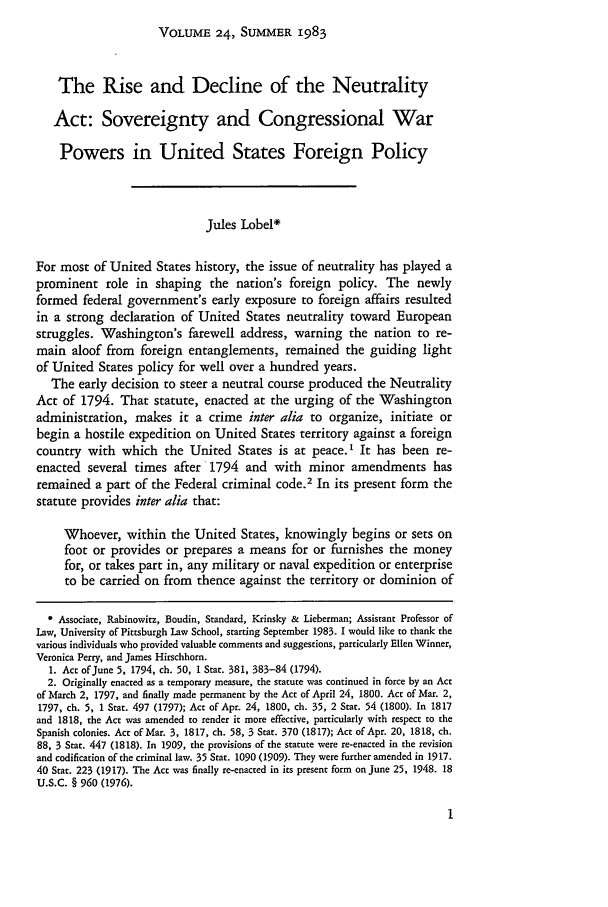 handle is hein.journals/hilj24 and id is 5 raw text is: VOLUME 24, SUMMER 1983