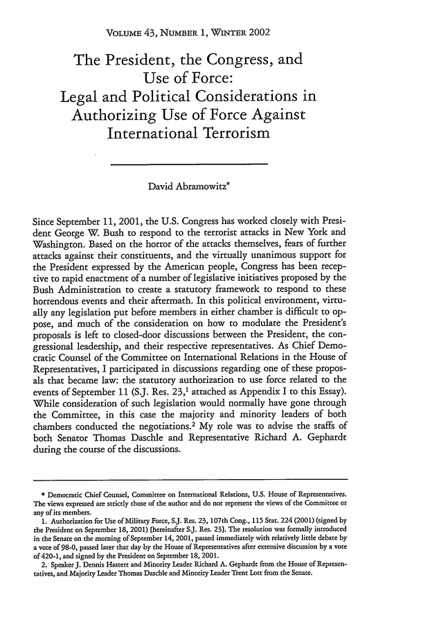 handle is hein.journals/hilj43 and id is 77 raw text is: VOLUME 43, NUMBER 1, WINTER 2002