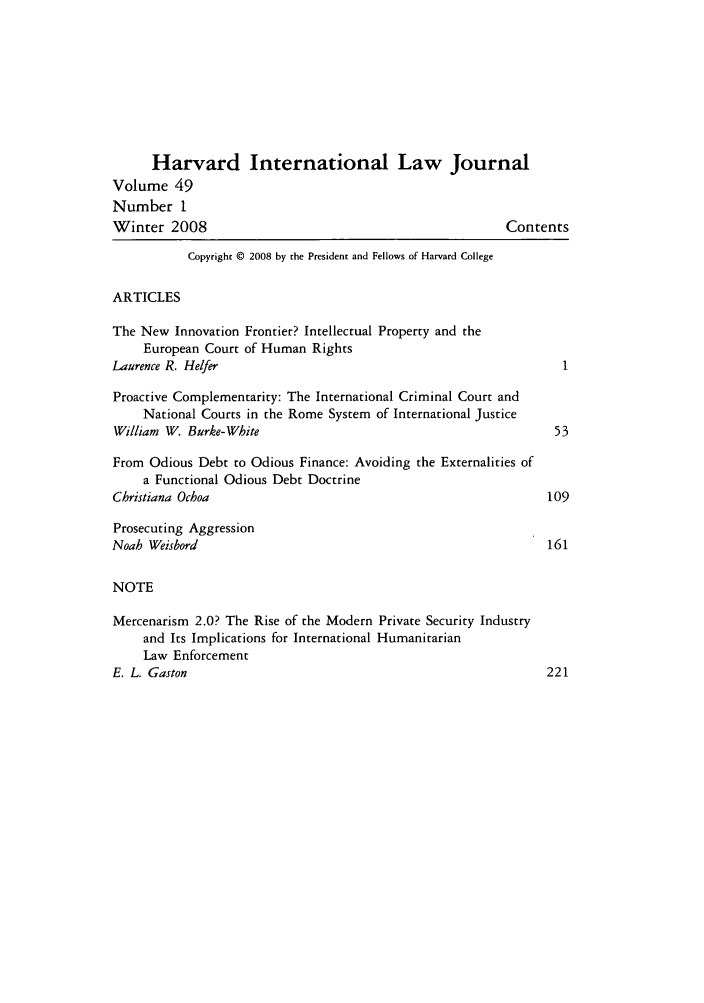 Harvard International Law Journal V  49