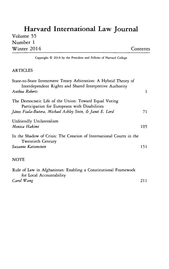 handle is hein.journals/hilj55 and id is 1 raw text is: Harvard International Law Journal