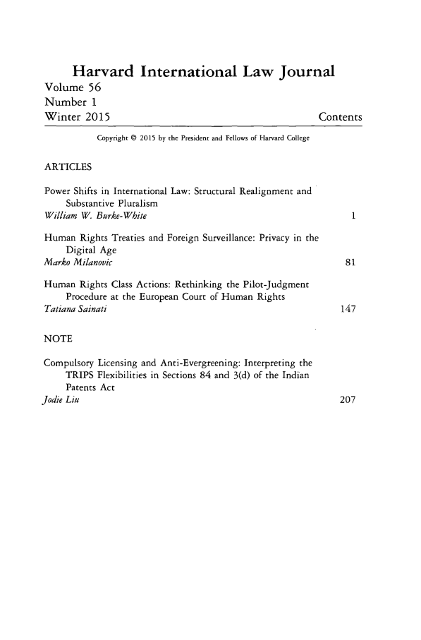 handle is hein.journals/hilj56 and id is 1 raw text is: 
