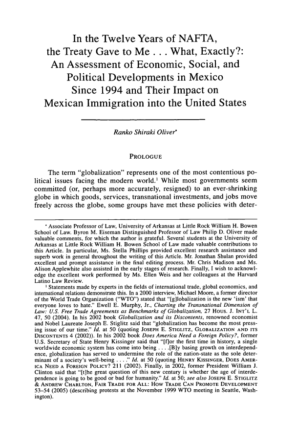 handle is hein.journals/hllr10 and id is 57 raw text is: In the Twelve Years of NAFTA,