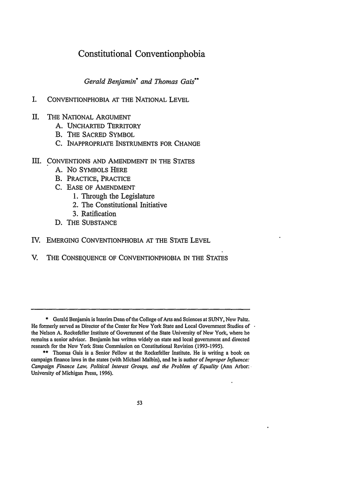 Constitutional Conventionphobia 1 Hofstra Law And Policy Symposium 1996