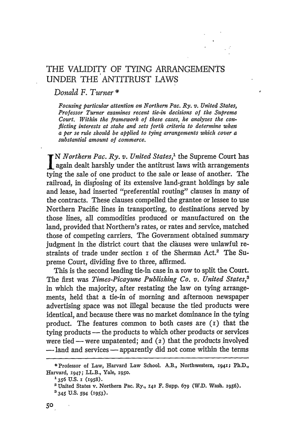 handle is hein.journals/hlr72 and id is 84 raw text is: THE VALIDITY OF TYING ARRANGEMENTS
