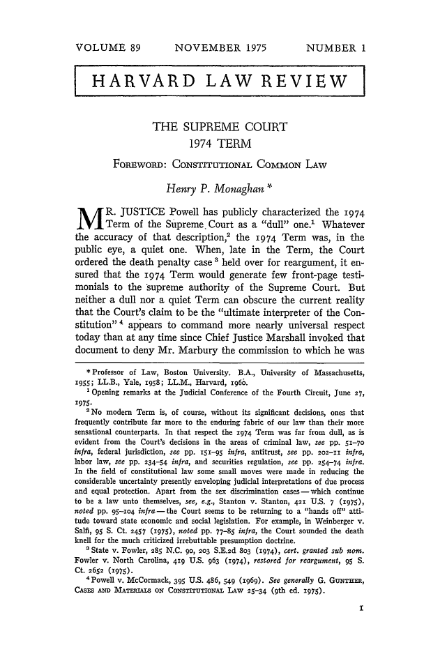 handle is hein.journals/hlr89 and id is 19 raw text is: VOLUME 89