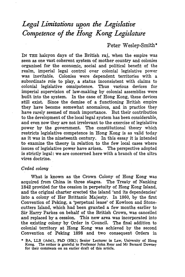 handle is hein.journals/honkon11 and id is 27 raw text is: Legal Limitations upon the Legislative