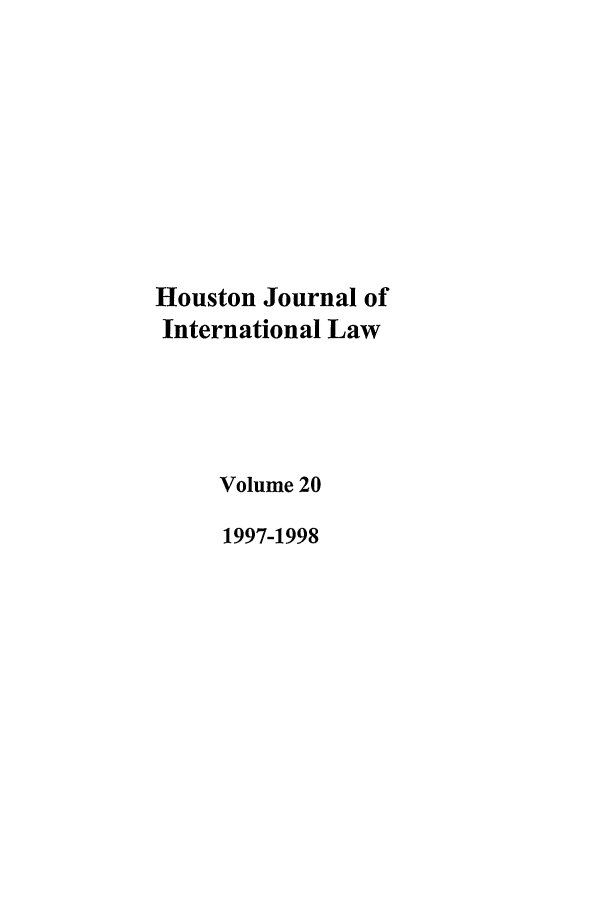 handle is hein.journals/hujil20 and id is 1 raw text is: Houston Journal of